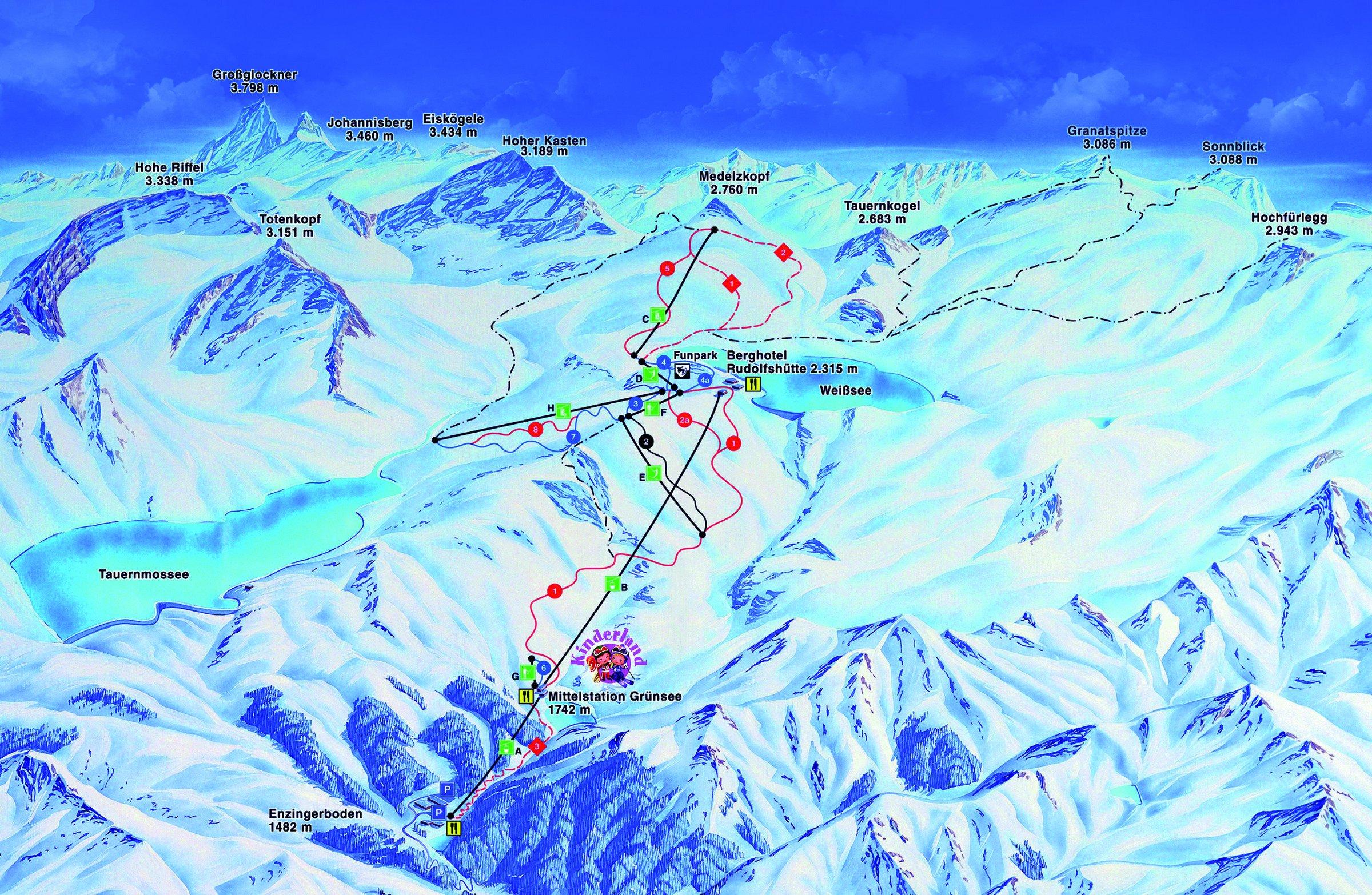Lyžování Weißsee Gletscher Welt